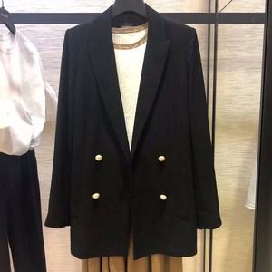 哥弟女装国内代购专柜正品2019春秋新款显瘦双排扣中长款西装外套