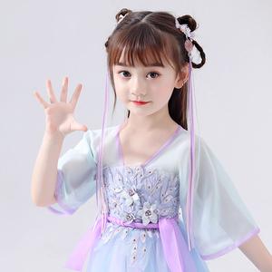 女童飘带超仙汉服头饰儿童中国风古装流苏发带宝宝古风发饰发夹子