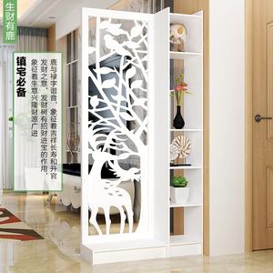 屏风隔断装饰客厅玄关柜现代简约时尚移动门厅柜镂空雕花橱窗背景