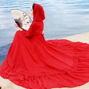 夏旅游拍照大紅色沙漠長裙長袖大擺雪紡連衣裙海邊度假沙灘仙女裙