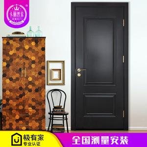 卡麗普索臥室實木門新中式超高烤漆門美式北歐谷倉移門現代套裝門