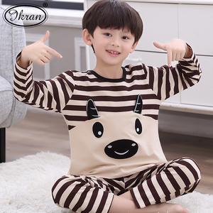儿童睡衣男孩长袖纯棉春秋季卡通男童睡衣中大童空调家居服套装薄
