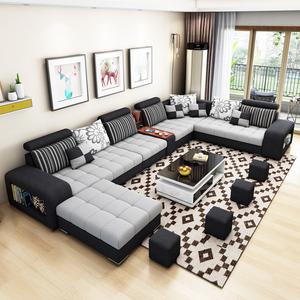 布藝沙發組合簡約現代客廳沙發大小戶型可拆洗轉角貴妃乳膠布沙發