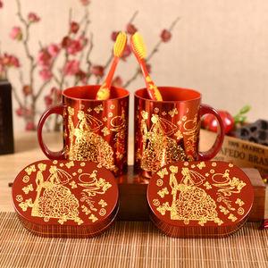 結婚用品大全洗漱口套裝新婚情侶牙杯缸牙刷水杯子肥皂盒一對紅色