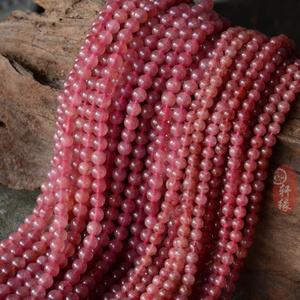 天?#27426;?#32599;斯进口天然草莓晶圆珠 精品草莓晶散珠 DIY散珠材料串