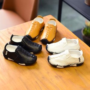 2019春季韓版男童軟底皮鞋 小男孩單鞋兒童休閑1-12歲寶寶豆豆鞋