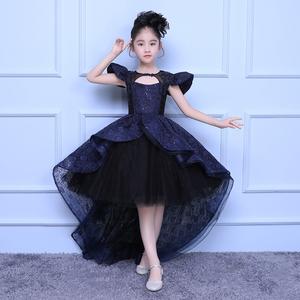 模特走秀儿童晚礼服高端女童公主裙小主持人表演出服蓬蓬纱裙拖尾