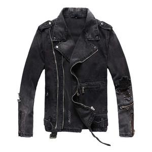 秋冬新款潮牌男士黑灰色破洞修身牛仔外套青年斜拉链机车夹克