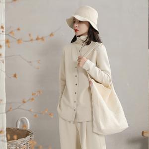 麻霖原創文藝女裝2020秋新款 蓬松柔軟空氣層拼色設計高領外套