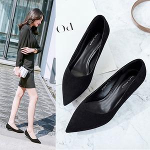 工作鞋黑色职业细跟尖头5厘米中跟3cm低跟百搭高跟单鞋女2019秋款