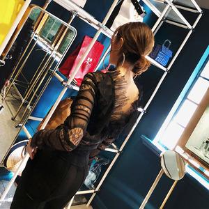 LIN CHAO ZHANG 春秋新品性感优雅蕾丝拼接网纱长袖套头上衣女