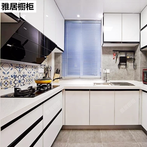 上海廚房櫥櫃全屋定制晶鋼板整體廚櫃門板訂做石英石不鏽鋼台面L