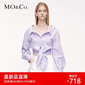 MOCO2020夏季新品淺紫色收腰綁結襯衫上衣MBO2SHT006 摩安珂