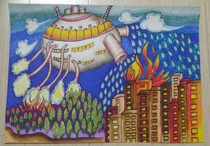纯手绘高中小学生幼儿园科学幻想绘画作品马克笔彩铅美术作业 4开图片