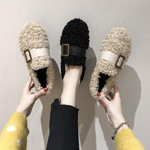 毛毛鞋女冬外穿网红2019新款加绒百搭豆豆鞋子平底棉鞋一脚蹬女鞋