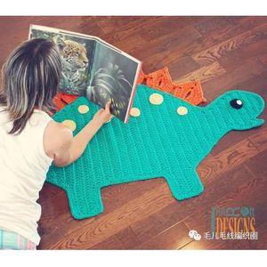 毛兒手作 ins卡通恐龍地毯 鉤針手工編織地墊毛線diy材料包布條線