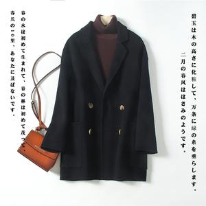 韓版純色中款雙面呢羊絨大衣女毛呢外套寬松純羊毛大衣小個子休閑