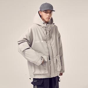 男道自制冬季新款韩版工装棉衣男士潮流加厚保暖外套宽松连帽棉服
