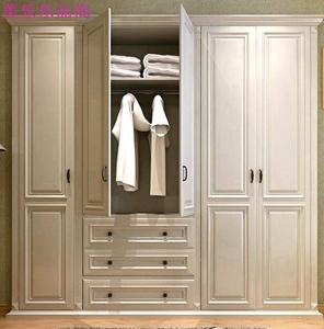 美式實木衣柜定制簡歐式黑白色大衣櫥田園鄉村四五門整體家具定做