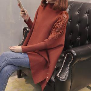 韓版毛衣女2018秋冬季新款蝙蝠衫樓空花針織衫新款套頭半高領