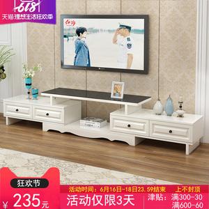 欧式电视柜茶几组合小户型客厅钢化玻璃伸缩地柜现代简约电视机柜