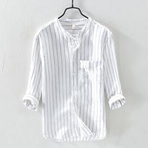 春夏立领衬衫男士七分袖棉麻料休闲圆领韩版潮流亚麻条纹短袖衬衣
