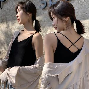 雪紡吊帶背心女秋夏新款V領外穿雙層打底衫內搭百搭寬松顯瘦上衣