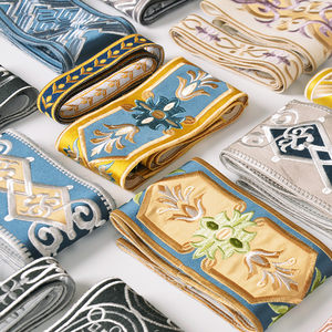 美式高精密刺绣花边丝绒布窗帘装饰辅料配件桌布抱枕桌旗汉服腰带