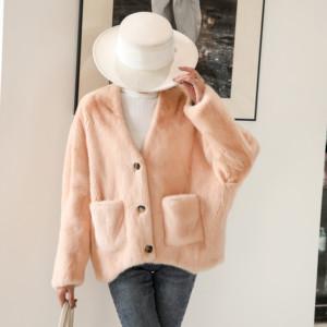 进口天鹅绒貂皮大衣女整貂年轻冬季新短款v领海宁水貂毛皮草外套