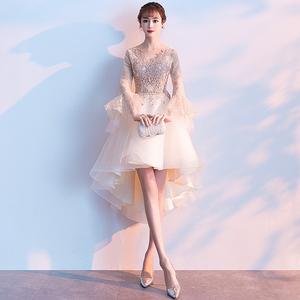 晚礼服女宴会气质2019新款短款平时可穿金色伴娘小礼服连衣裙高贵