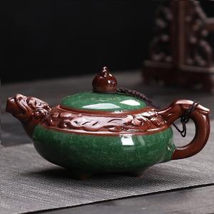 礼品茶具陶瓷茶壶陶壶冰裂釉龙纹壶过滤单壶功夫玻璃小茶壶冲茶器