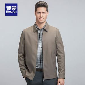 羅蒙夾克衫男2020春季新款商務休閑純色外套中老年翻領爸爸裝上衣