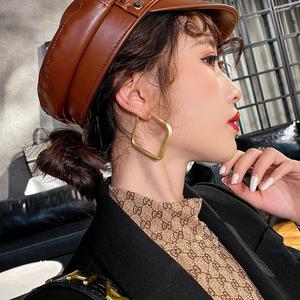 時髦啞金潮流方形耳環耳圈韓國歐美網紅氣質個性夸張大耳環耳飾女