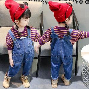 2019冬装秋装男童女童婴幼儿童宝宝牛仔长裤0-3岁儿童背带裤罩裤