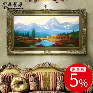 手繪油畫風景 山水有框畫 玄關臥室客廳豎畫訂制 古典