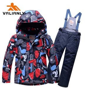 滑雪服儿童 valianly儿童防水衣裤套装 加…