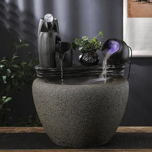 自动上水循环流水摆件养鱼盆陶瓷鱼缸过滤器客厅大号过滤器圆缸