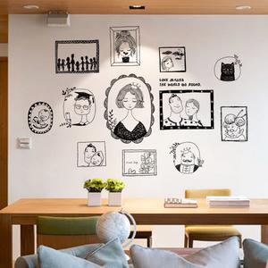 简约客厅手绘文艺人物照片墙相框贴画温馨卧室沙发背景自粘墙贴纸