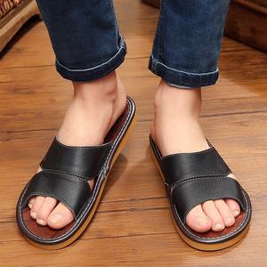 真皮拖鞋 夏季男女居家牛皮拖鞋透气家居地板防滑防臭凉拖鞋夏天