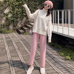 网红推荐粉色奶奶裤女学院风宽松显瘦哈伦裤加厚阔腿萝卜裤直筒裤
