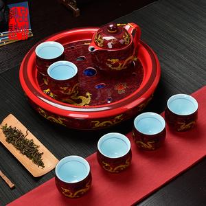 陶瓷双层隔热整套茶具中国风龙纹带茶盘家用中式结婚礼品1壶6杯