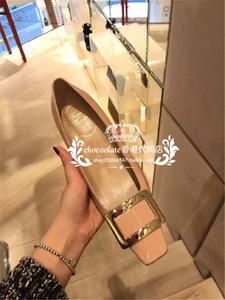 香港代购RV女鞋漆皮金属扣方头粗跟单鞋方扣高跟鞋中跟真皮婚鞋