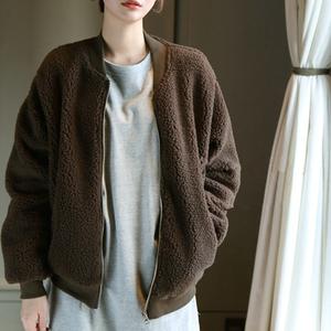D17韩国女装代羊羔绒宽松简约秋冬女夹克外?#21672;?#34915;棒球服保暖