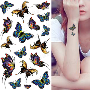 新品蝴蝶纹身贴防水女持久个性隐形逼真刺青锁骨 胸 手臂遮瑕贴纸