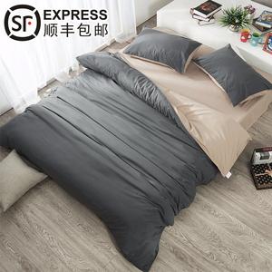純色純棉床笠四件套磨毛三件套1.5網紅全棉床單被套1.8m2床上用品