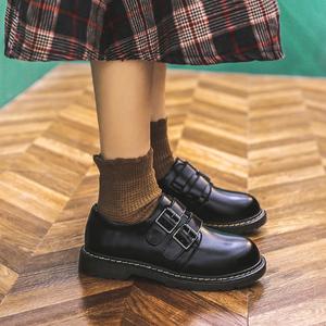 jk小皮鞋日式英伦基础款女复古文艺日系圆头森系加绒制服ck黑单鞋