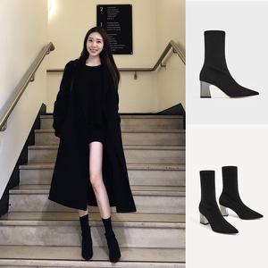 2019網紅瘦瘦靴女高跟短靴針織春秋襪子尖頭襪靴粗跟鞋冬彈力新款