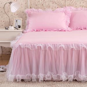 韓版蕾絲床裙單件公主席夢思床罩床套夾棉加厚1.8m床墊防滑保護套