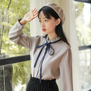 小清新木耳领学院风女生白衬衫2017新款韩版百搭显瘦秋冬打底上衣