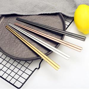 韩式家用304不锈钢筷子实心扁筷彩色合金情侣筷子便携铁筷盒套装